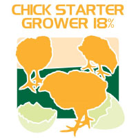 chick starter grower 18% protein feed bag icon